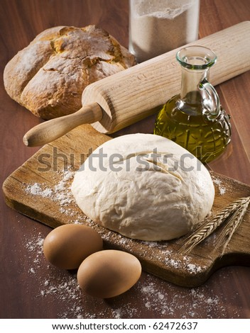 Baking fresh bread background close up shoot