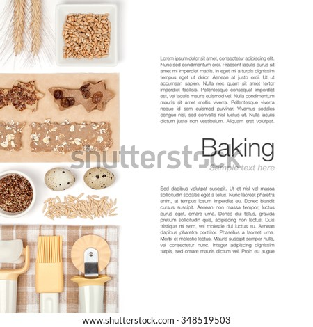 baking ingredients and tools on white background