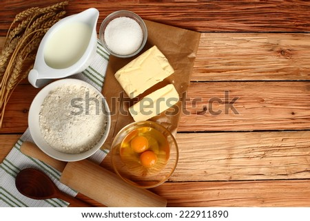 Baking ingredients. Copy space. - stock photo