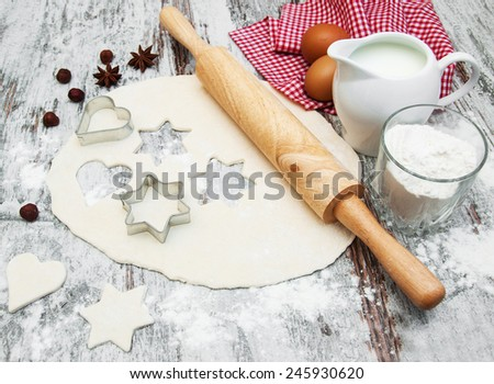 baking ingredients - eggs, flour and milk - stock photo