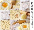 Baking ingredients for shortcrust pastry, collage - stock photo