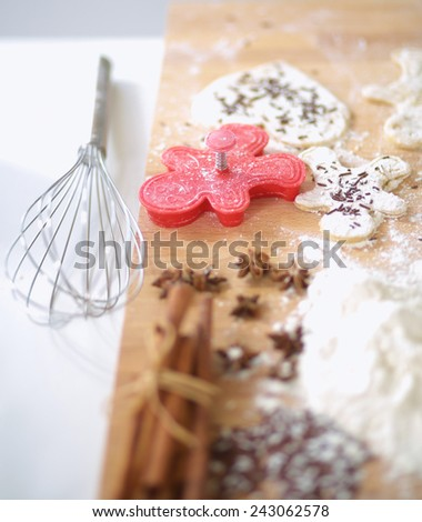 Baking ingredients for shortcrust pastry,plunger on the desk - stock photo