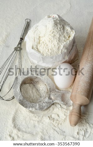 baking ingredients on a wooden table. top view