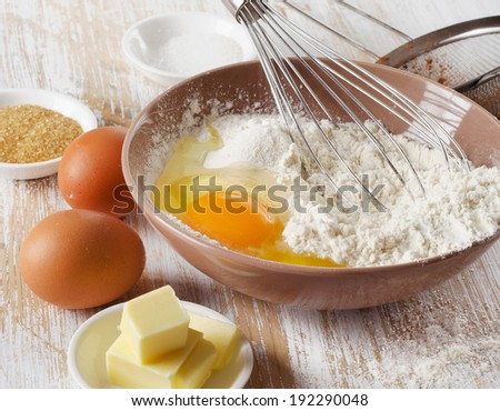 baking ingredients on  wooden table . Selective focus - stock photo