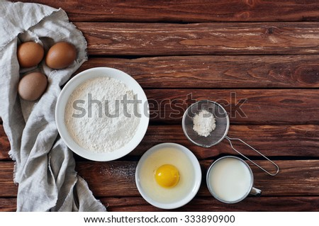 Baking ingredients. Top view. Copy space. Free space for text. Bake ingredients - stock photo