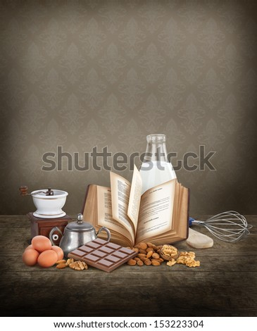 Baking ingredients with copy space - stock photo
