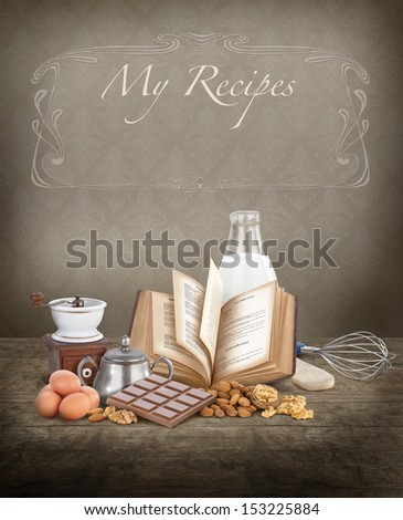 Baking ingredients with copy space, ideal for a cook book cover - stock photo