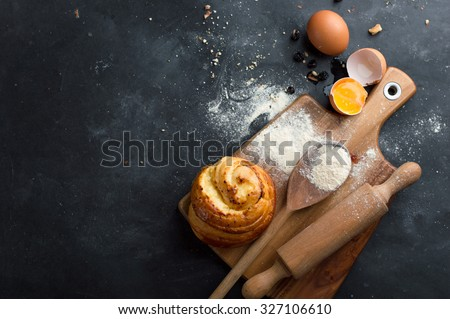 Baking pastry ingredients, selective focus. Cooking course poster background - layout with free text space. - stock photo