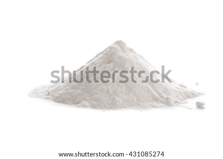 Baking soda, Sodium bicarbonate isolated on white background,  NaHCO3