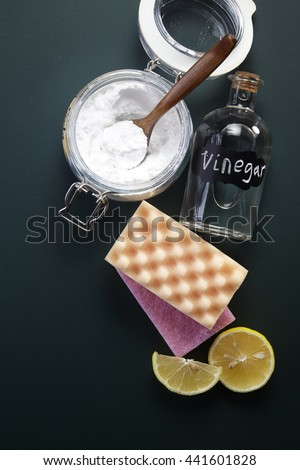 baking soda with cleaning sponge - stock photo