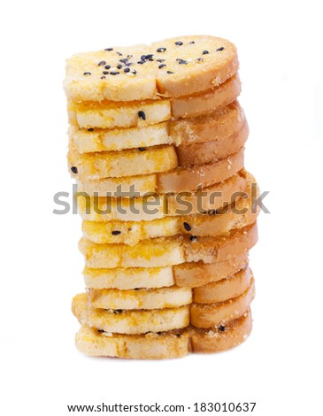 baking toast with sugar and sesame stack