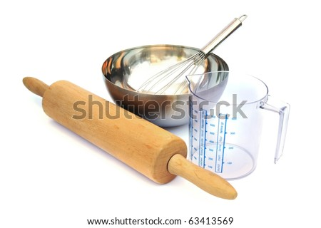 Baking tools isolated on white background. - stock photo
