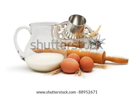 Baking utensil and ingredients - stock photo