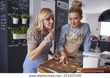 Baking with my mom is very inspiring  - stock photo