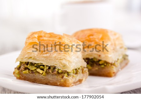 baklava and coffee