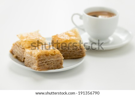 Baklava, delicious pastry dessert made with phyllo dough, nuts, butter, and sugar. - stock photo