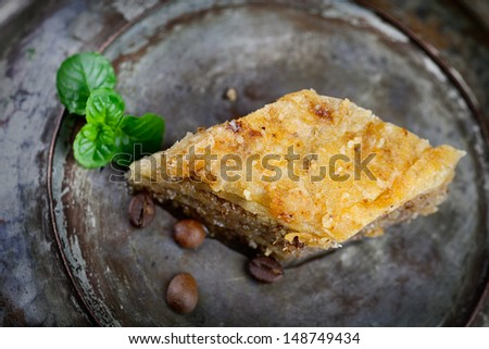 Baklava pastry dessert. Traditional turkish dessert. - stock photo