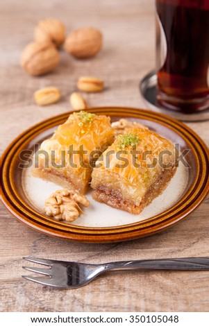 Baklava - traditional oriental confectionery - stock photo