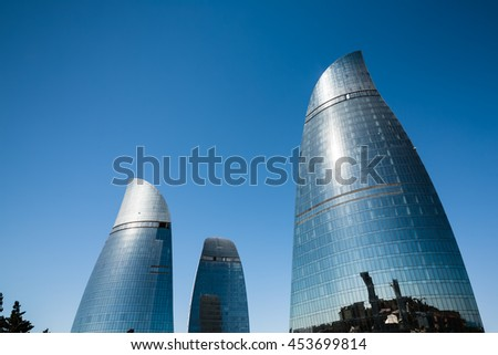BAKU, AZERBAIJAN - Jul 14, 2016: Flame Towers is the tallest skyscraper in Baku with a height of 190 m. The buildings consist of apartments, a hotel and office blocks