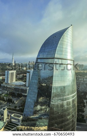 BAKU, AZERBAIJAN - July,1,2017: Baku Flame Towers is the tallest skyscraper in Baku, Azerbaijan with a height of 190 m. The buildings consist of apartments, a hotel and office blocks.