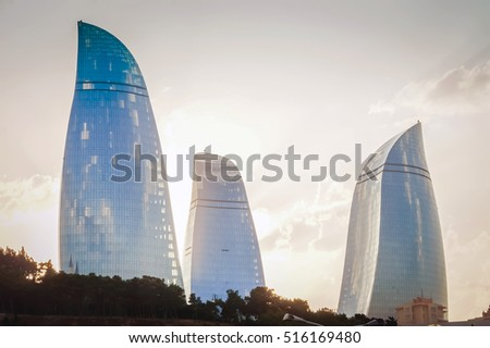 BAKU, AZERBAIJAN - JULY 8, 2016: Picture of Baku Flame Towers. Best tourist city. City view. View of the Baku Flame towers. Baku Azerbaijan. Baku landmarks. Baku pictures. Three Towers Baku