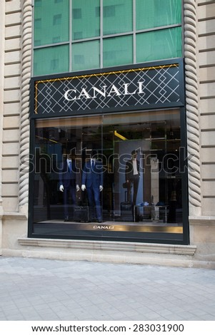 BAKU, AZERBAIJAN  May 10 2015: Facade of Canali flagship store in Baku on May 10 2015.   - stock photo