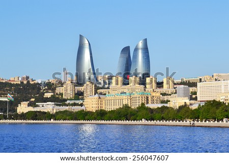 Baku, Azerbaijan - May 9, 2014: Flame Towers. Flame Towers is  a symbol of the new Baku