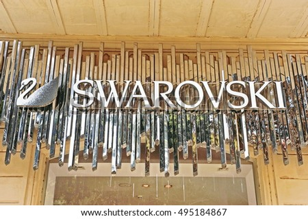 BAKU, AZERBAIJAN - SEPTEMBER 25: Logotype of Swarovski flagship store in Baku on September 25, 2016.