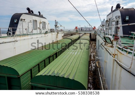BAKU, AZERBAIJAN - SEPTEMBER 15: train loaded on the cargo vessel on the Caspian sea. September 2016