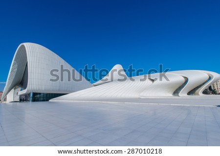 BAKU- DECEMBER 27: Heydar Aliyev Center on December 27, 2014 in Baku, Azerbaijan. Heydar Aliyev Center won the Design Museum's Designs of the Year Award in 2014 - stock photo