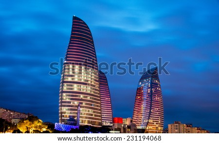 Baku - MARCH 9, 2014: Flame Towers on March 9 in Azerbaijan, Baku. Flame Towers are new skyscrapers in Baku - stock photo