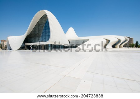 BAKU- MAY 03: Heydar Aliyev Center on May 3, 2014 in Baku, Azerbaijan. Heydar Aliyev Center won the Design Museum's Designs of the Year Award in 2014 - stock photo