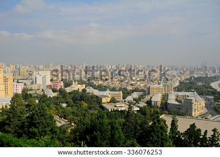 BAKU - OCTOBER 1 : View of the city at 1 October 2015 in Baku, Azerbaijan. Baku is the capital city of Azerbaijan.