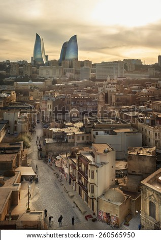 Baku old town sunset View from maiden tower  - stock photo