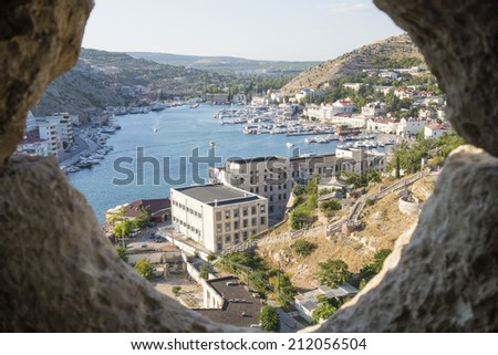 Balaklava town and Balaklava Bay, Crimea - stock photo