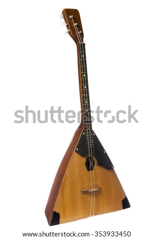 balalaika Russian folk musical instrument yellow isolated on white background - stock photo