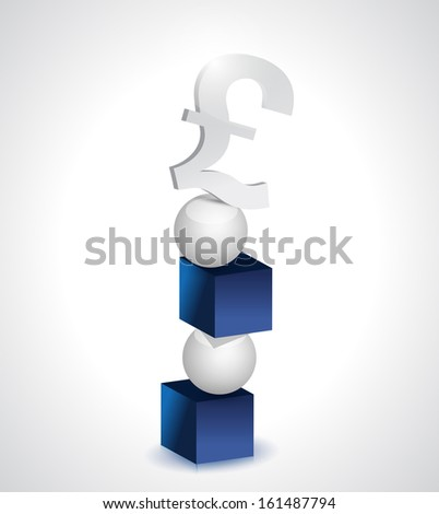 balance and pound currency illustration design over white - stock photo