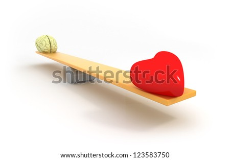 balance between heart and mind - stock photo