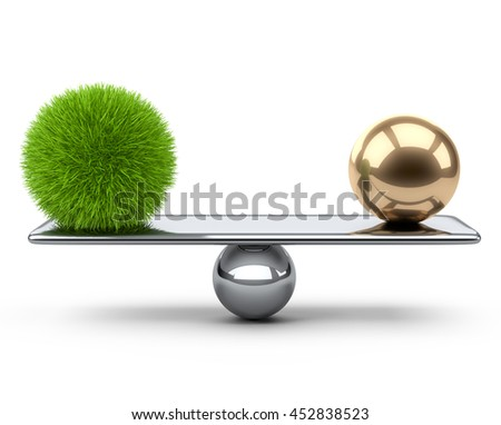 Balance between large gold and steel spheres. Eco concept. 3d illustration on a white background.