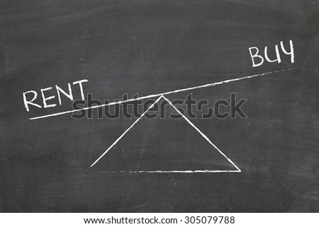 balance between rent and buy  - stock photo