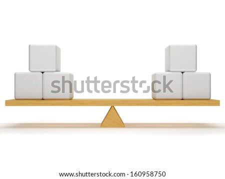 Balance between the three cubes on each side, which are located on the wooden stake.