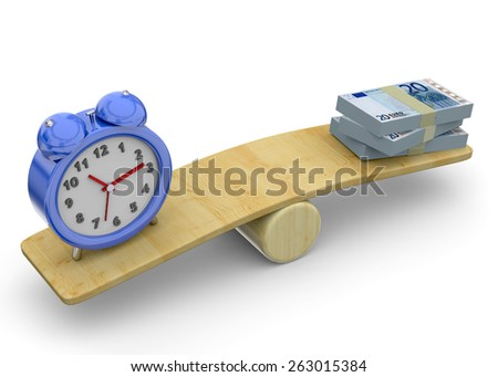 Balance between time and money - stock photo