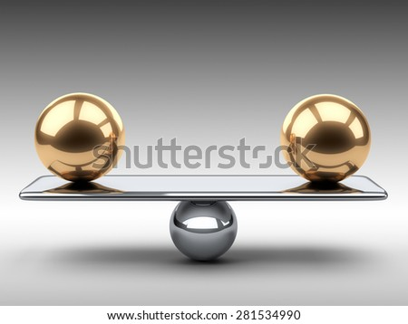Balance between two large gold spheres. 3d illustration on a grey background. - stock photo