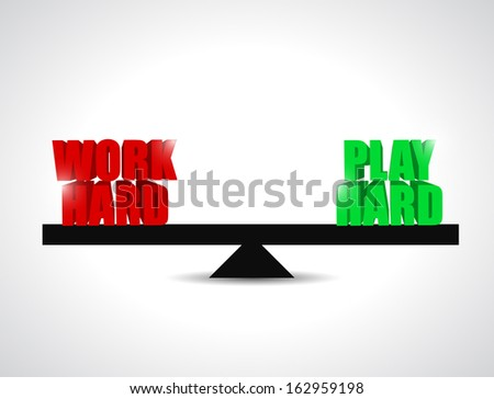 balance between work had and play hard. concept illustration - stock photo