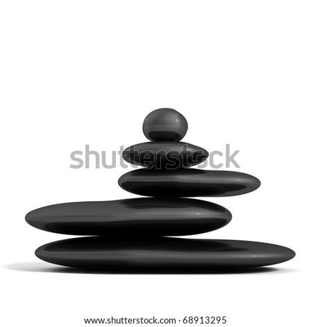balance black stones isolated in white.Zen concept - stock photo