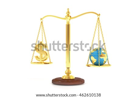 balance concept, world and money on the scales. 3D rendering isolated on white background