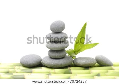 balance gray stone with bamboo grove - stock photo