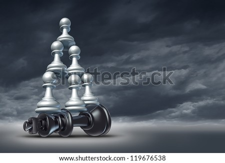 Balance of power and team victory as a business strategy chess symbol of changing the leader by teaming up in partnership and collaborating together to defeat a powerful competitor on a dramatic sky.