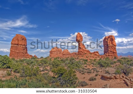 Balance Rock, Arches National Park - stock photo