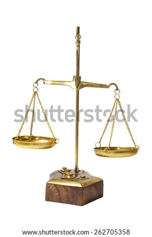 Balance scale isolated on white background - stock photo